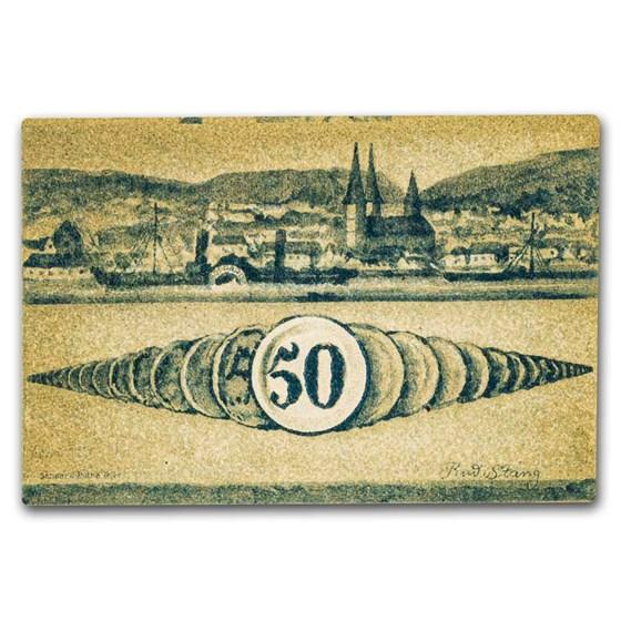 1920 Notgeld Boppard 50 Pfennig CU (Lt Green/Blue)