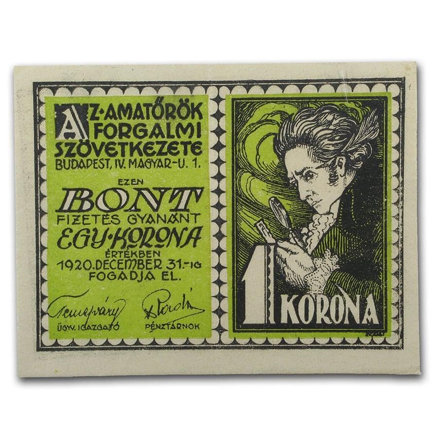 1920 Notgeld Budapest 1 Korona CU (Lt Green/White)
