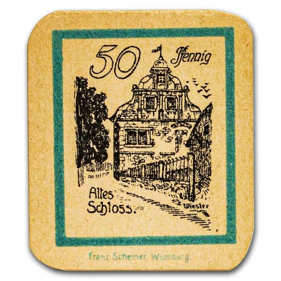 (1920) Notgeld Trappstadt 50 Pfennig CU (Manilla/Lt Blue)