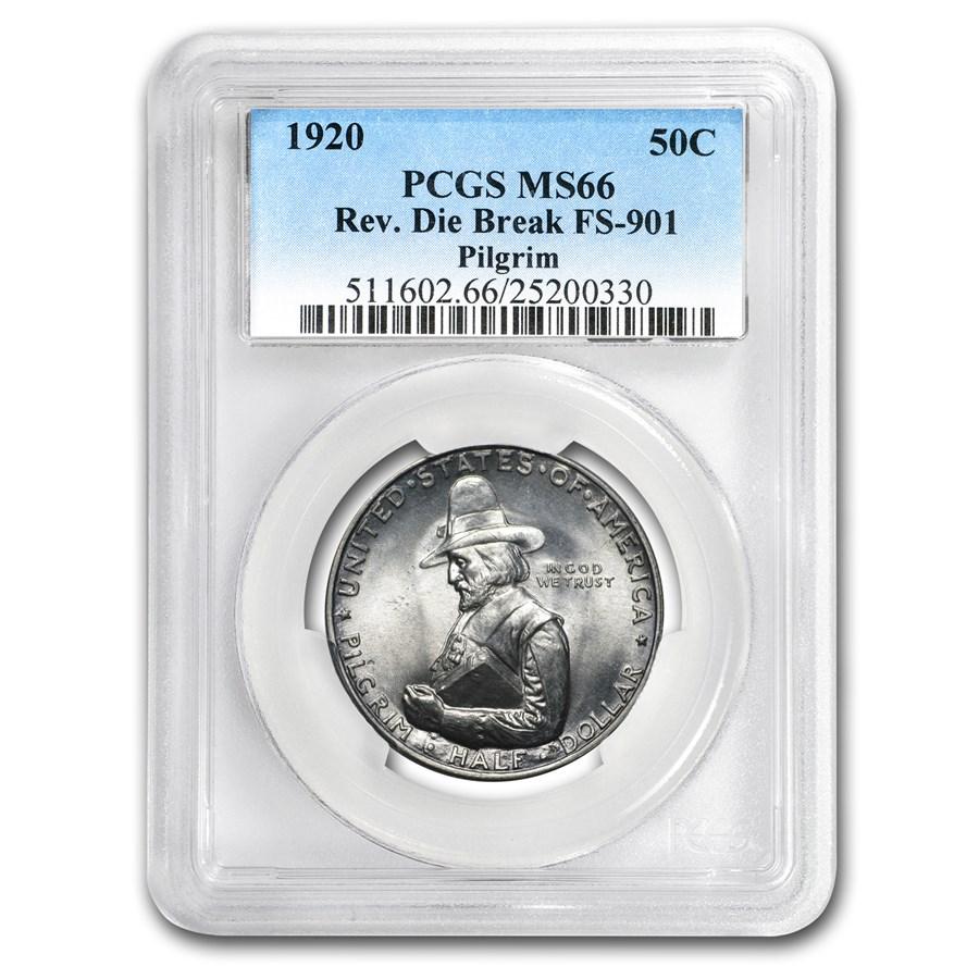 1920 Pilgrim Half Dollar MS-66 PCGS (Reverse Die Break Variety)