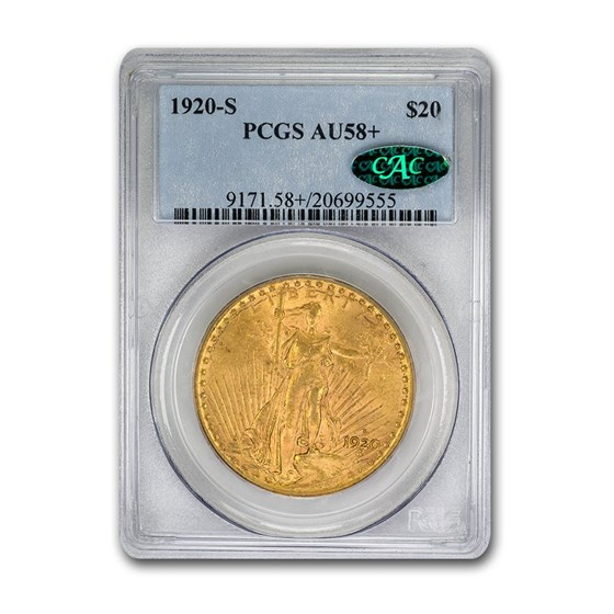 1920-S $20 Saint-Gaudens Gold Double Eagle AU-58+ PCGS CAC