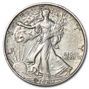 1920-S Walking Liberty Half Dollar AU Details (Cleaned)