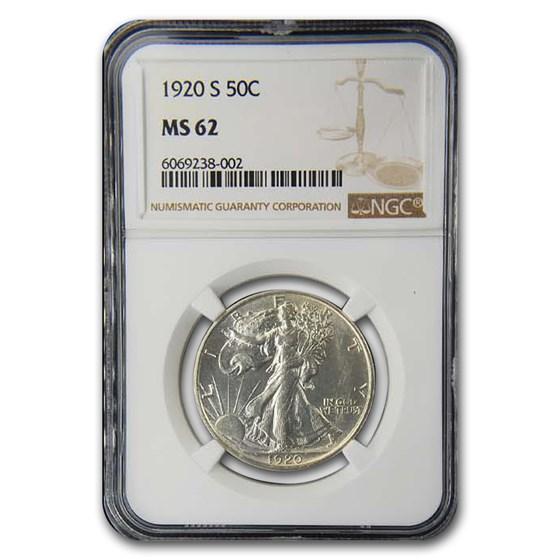 1920-S Walking Liberty Half Dollar MS-62 NGC
