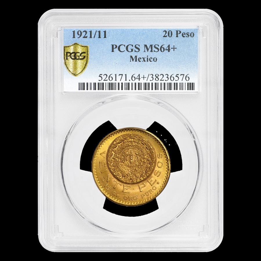 1921/11 Mexico Gold 20 Pesos MS-64+ PCGS