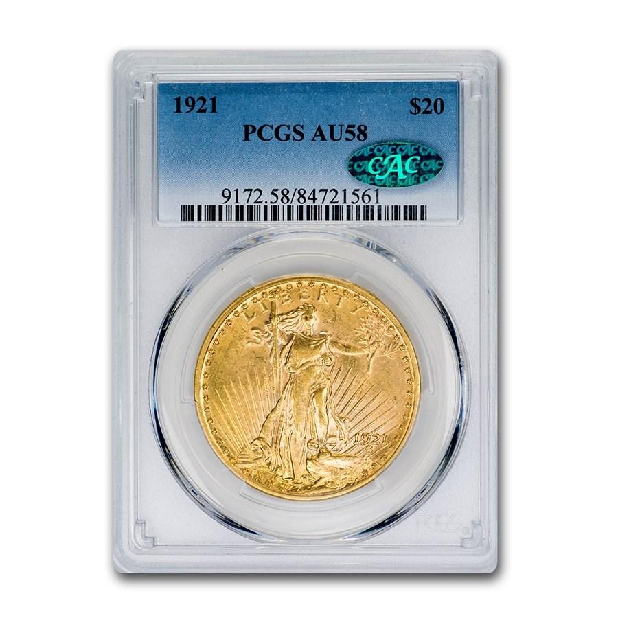 1921 $20 Saint-Gaudens Gold Double Eagle AU-58 PCGS CAC