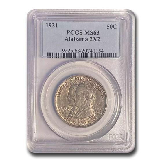 1921 2X2 Alabama Centennial Half Dollar MS-63 PCGS