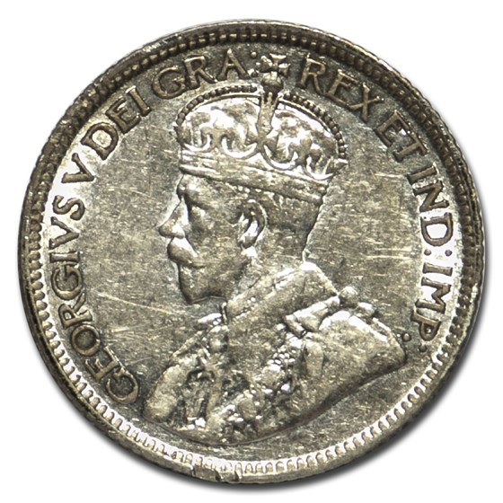1921 Canada Silver 10 Cents George V XF Details (Rev discolored)