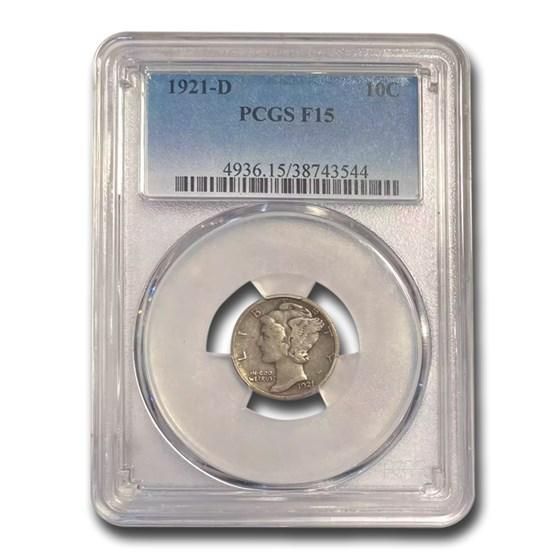 1921-D Mercury Dime Fine-15 PCGS