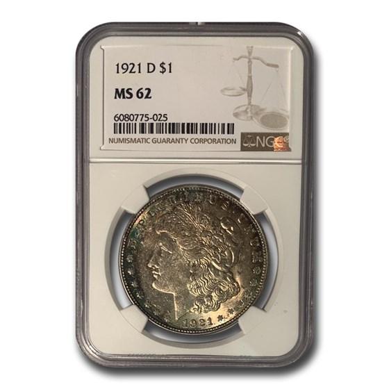 1921-D Morgan Dollar MS-62 NGC (Beautiful Toning)