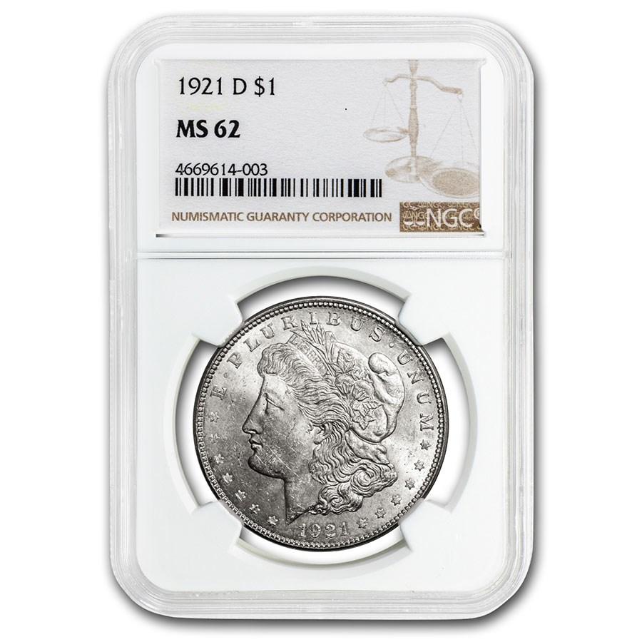 1921-D Morgan Dollar MS-62 NGC