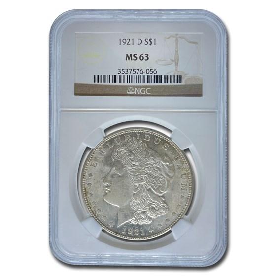 1921-D Morgan Dollar MS-63 NGC