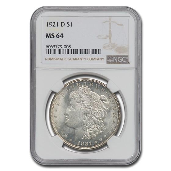 1921-D Morgan Dollar MS-64 NGC