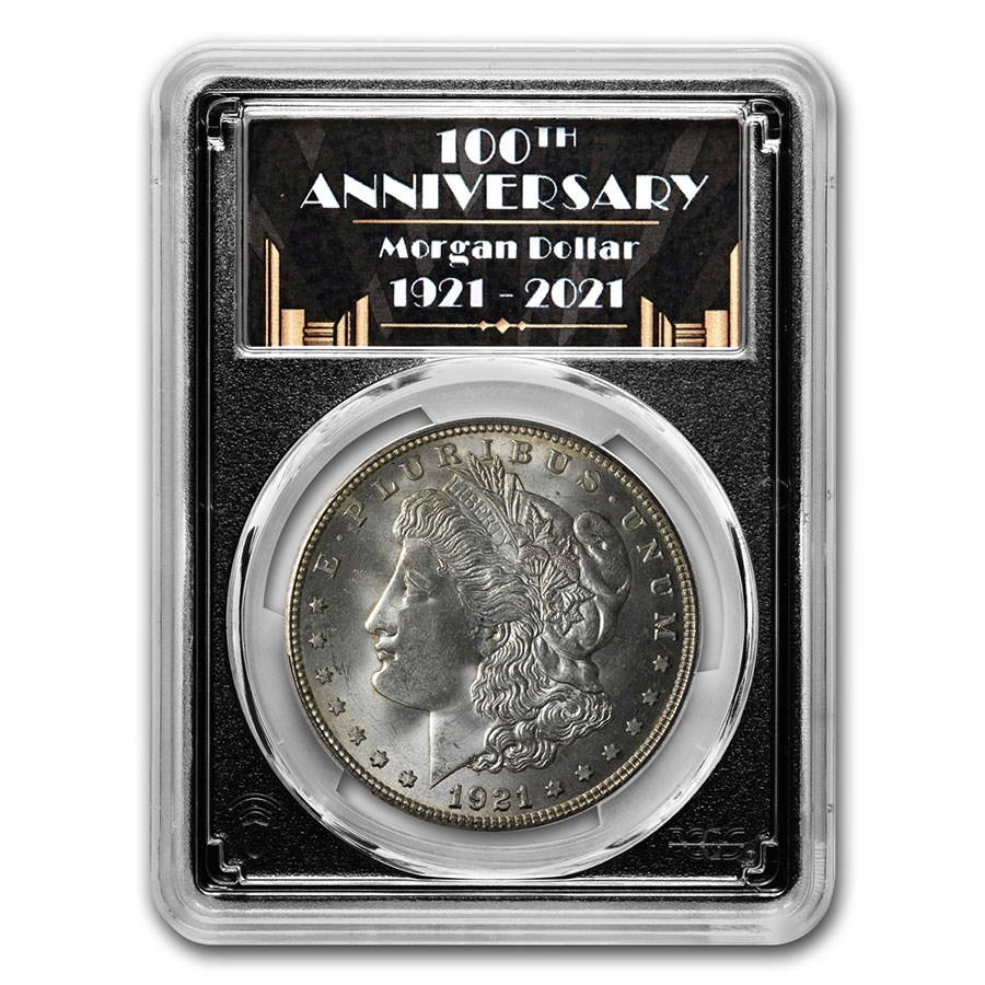 1921-D Morgan Dollar MS-64 PCGS (100th Anniversary Label)