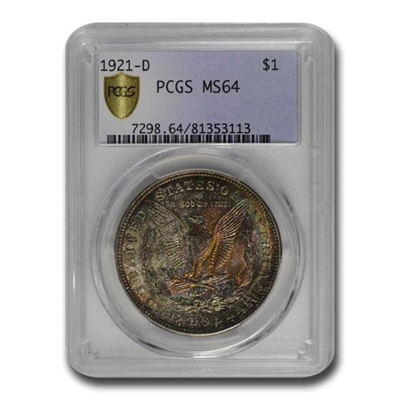 1921-D Morgan Dollar MS-64 PCGS (Beautiful Toning)