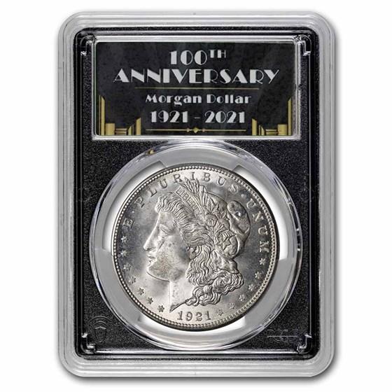 1921-D Morgan Dollar MS-65 PCGS (100th Anniversary Label)