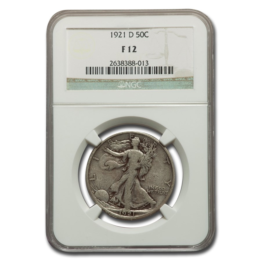 1921-D Walking Liberty Half Dollar Fine-12 NGC