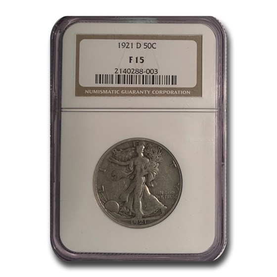 1921-D Walking Liberty Half Dollar Fine-15 NGC