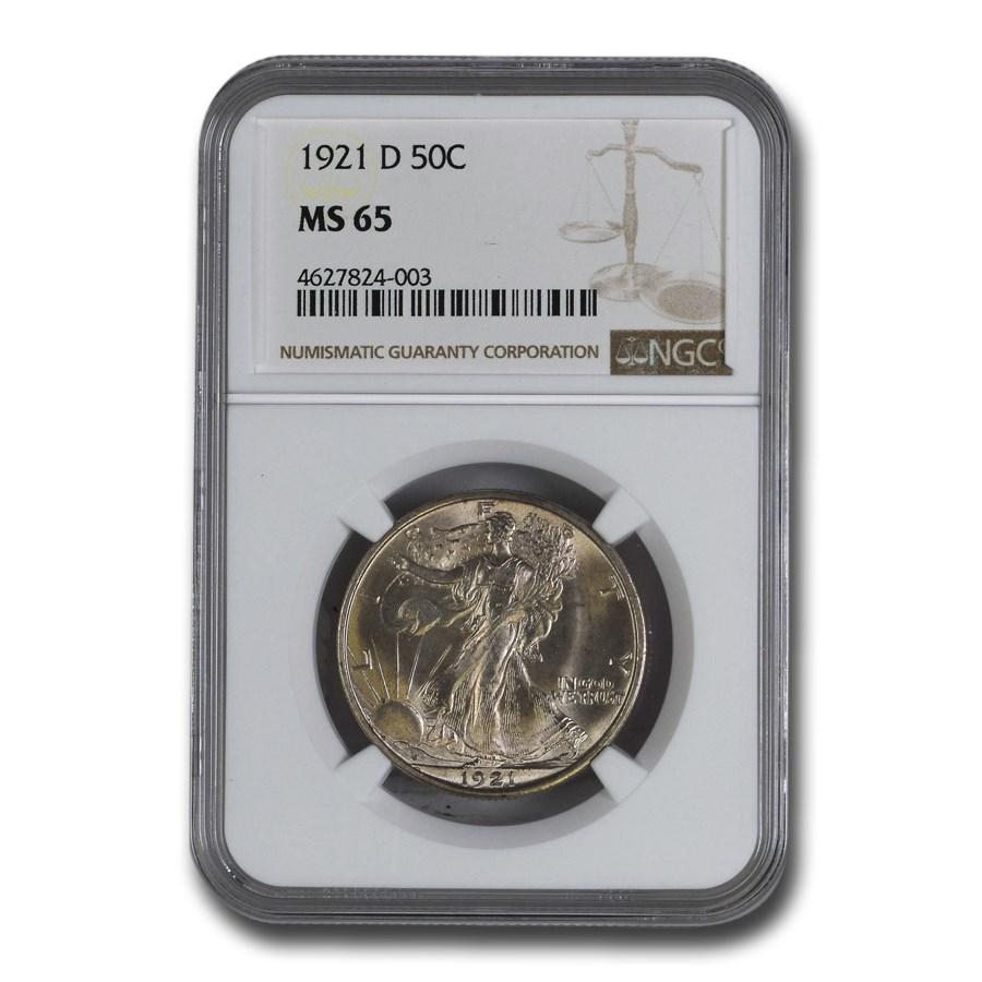 1921-D Walking Liberty Half Dollar MS-65 NGC