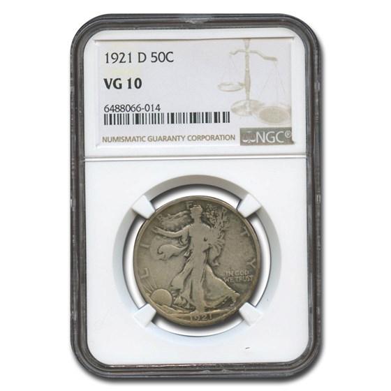 1921-D Walking Liberty Half Dollar VG-10 NGC