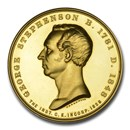 (1921) Great Britain Gold Medal George Stephenson MS63* NGC