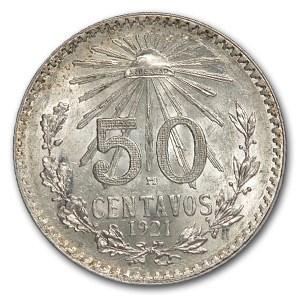 1921-M Mexico Silver 50 Centavos BU