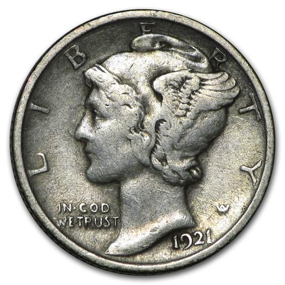 1921 Mercury Dime VF