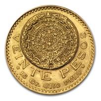 1921 Mexico Gold 20 Pesos AU