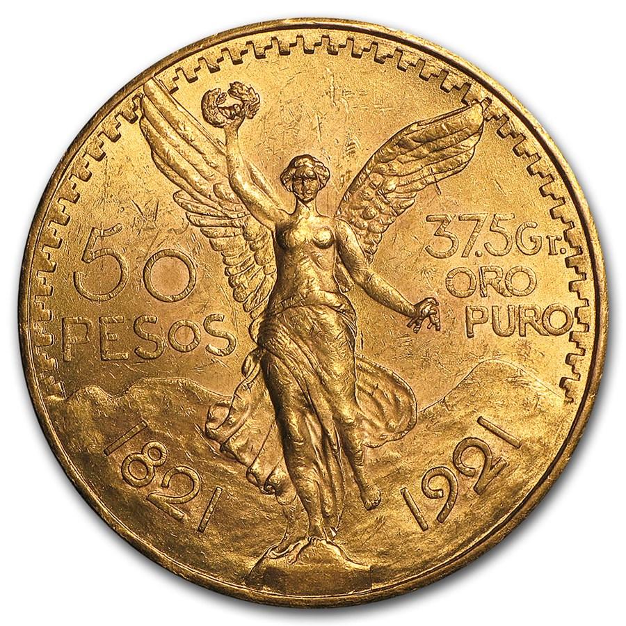 1921 Mexico Gold 50 Pesos BU