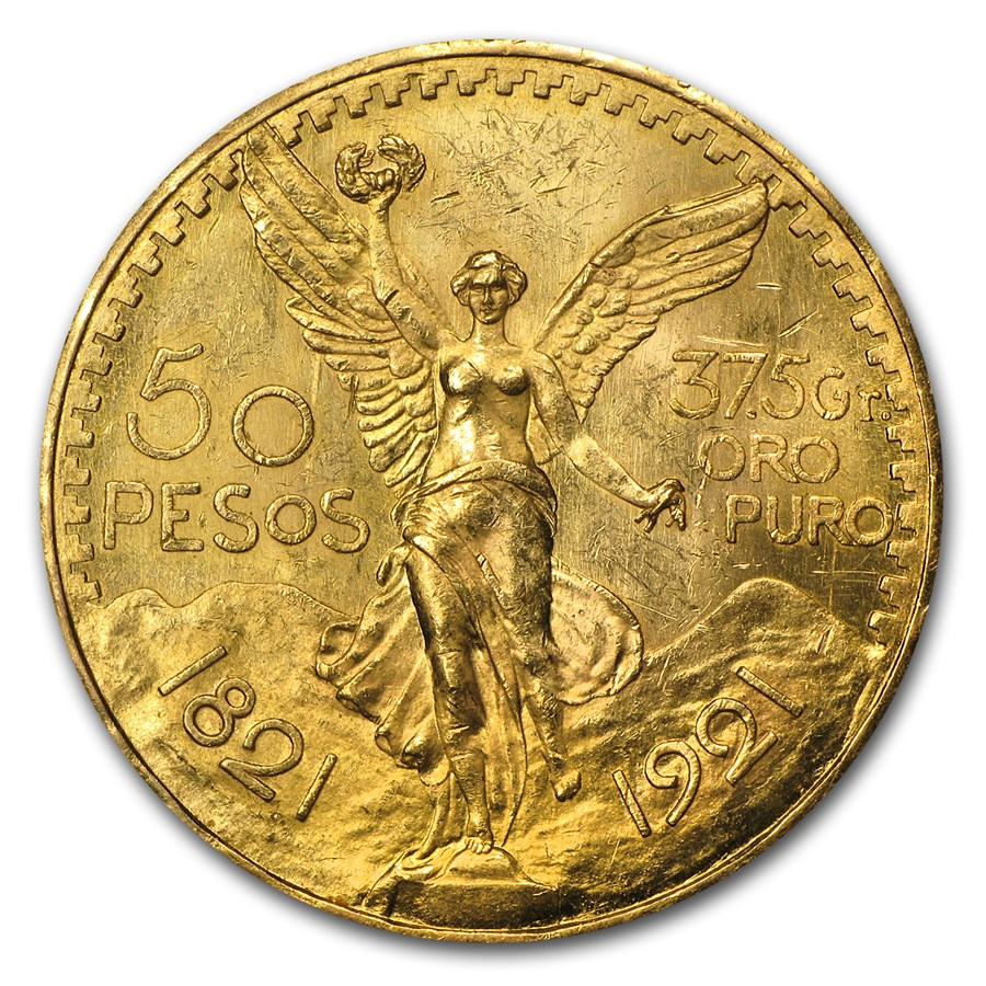 1921 Mexico Gold 50 Pesos (Cleaned)