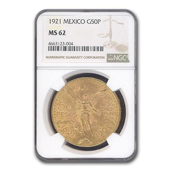 1921 Mexico Gold 50 Pesos MS-62 NGC