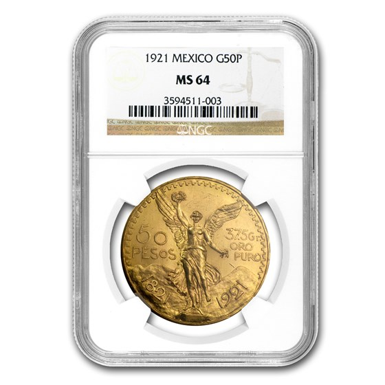 1921 Mexico Gold 50 Pesos MS-64 NGC