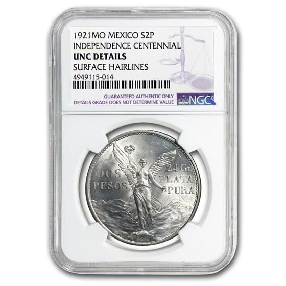 1921 Mexico Silver 2 Pesos Winged Victory Unc Details NGC
