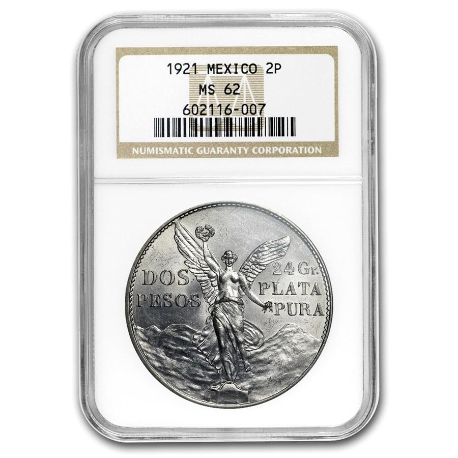 1921-Mo Mexico Silver 2 Pesos Winged Victory MS-62 NGC
