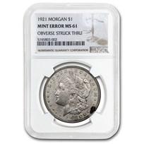 1921 Morgan Dollar MS-61 NGC (Mint Error, Obverse Struck Thru)