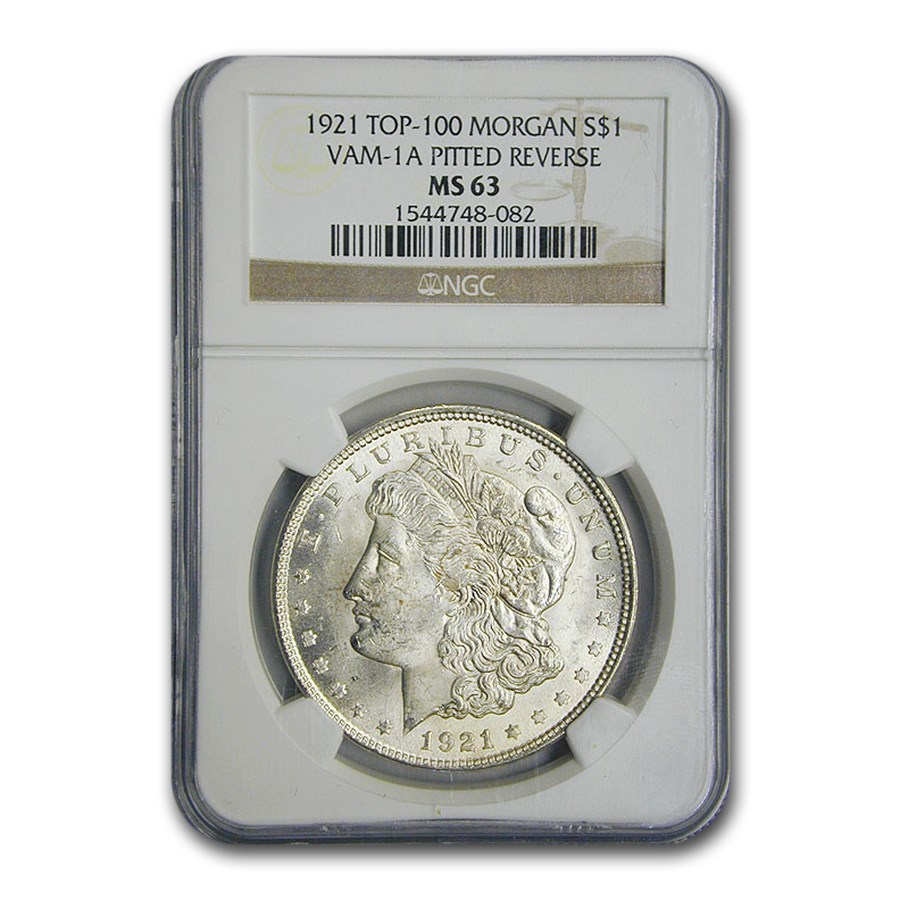 1921 Morgan Dollar MS-63 NGC (VAM-1 A Pitted Reverse, Top-100)