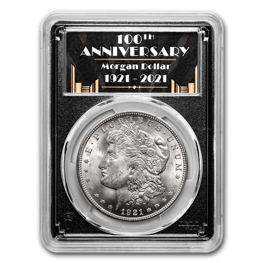 1921 Morgan Dollar MS-63 PCGS (100th Anniversary Label)