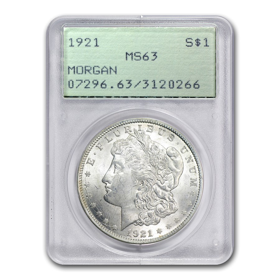 1921 Morgan Dollar MS-63 PCGS (Old Rattler Holder)