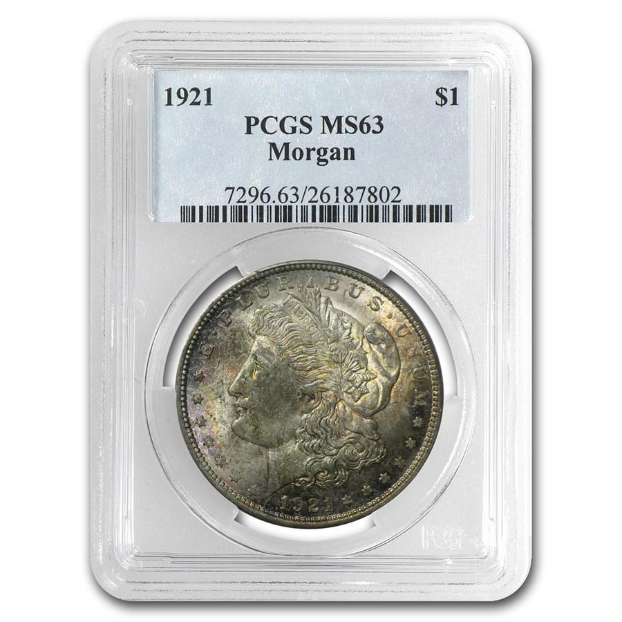 1921 Morgan Dollar MS-63 PCGS (Toned, Obv &/or Rev)
