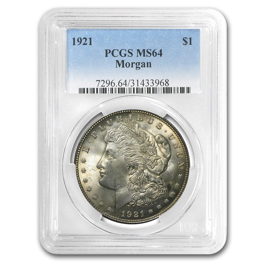 1921 Morgan Dollar MS-64 PCGS (Toned)