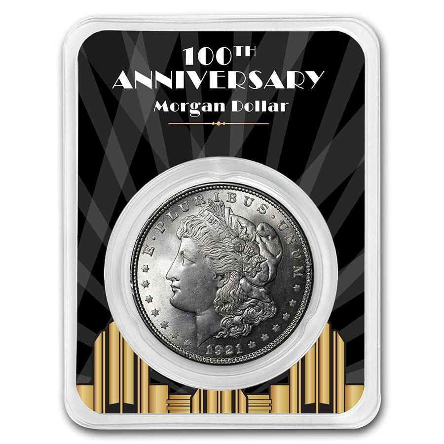 1921 Morgan Silver Dollar 100th Anniversary BU - Spotlights