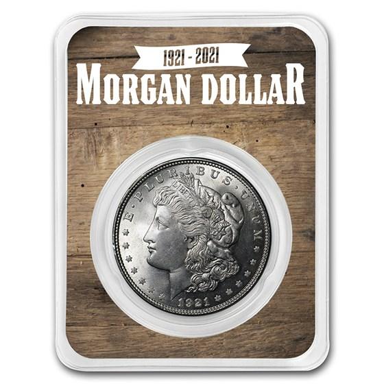 1921 Morgan Silver Dollar 100th Anniversary BU - Wooden Back