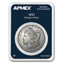 1921 Morgan Silver Dollar APMEX Card BU