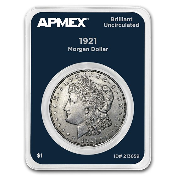 1921 Morgan Silver Dollar APMEX Card BU