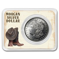 1921 Morgan Silver Dollar Boot & Hat Card BU