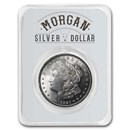 1921 Morgan Silver Dollar Long Horn Card BU