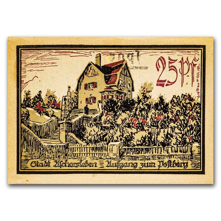 1921 Notgeld Aschersleben 25 Pfennig CU (Lt Green/Red)