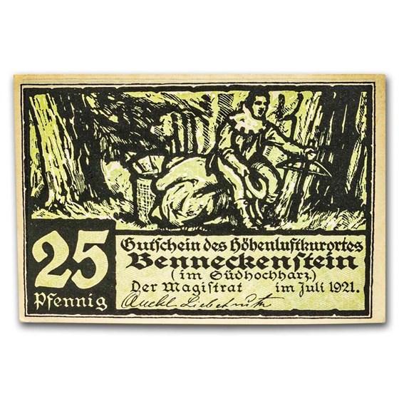 1921 Notgeld Benneckenstein 25 Pfennig CU (Green/Black)