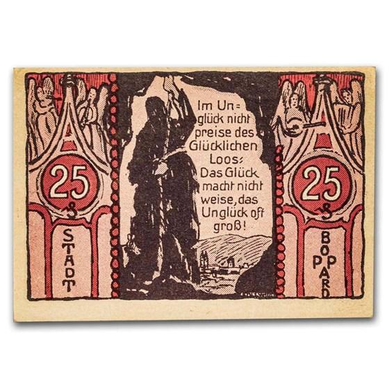 1921 Notgeld Boppard 25 Pfennig CU (Red/Pink)