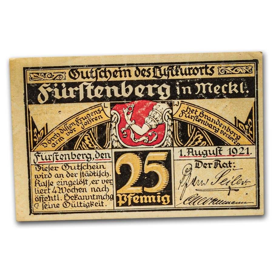 1921 Notgeld Fürstenberg 25 Pfennig CU (White/Black/Tan)