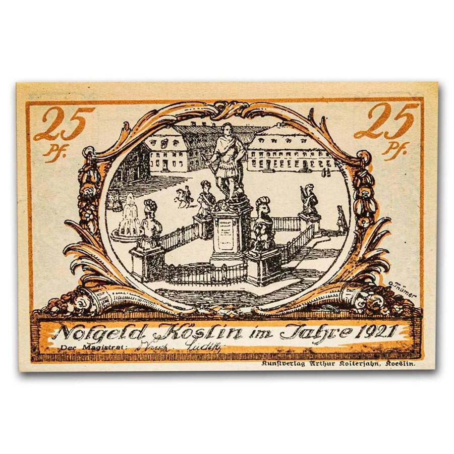 1921 Notgeld Köslin 25 Pfennig CU (Orange/Blue)